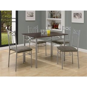 This 5-Piece Dining Set in Silver Metal with Cappucinno Table Top includes a sleek, cappuccino table with silver tube metal legs and a decorative apron that will bring a touch of style to your home. The chairs that are featured echo the decorative accents of the table and also have plush cushion seats for added comfort. This set is ideal for smaller dining spaces like in apartments and condos.