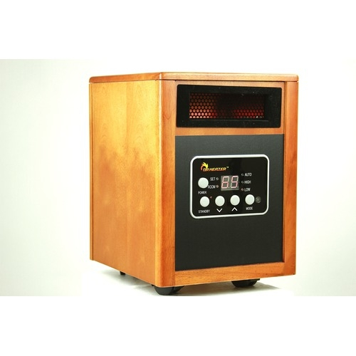 1500W Portable Quartz Infrared Space Heater with Remote Control, DR1500WSH145 :  This 1500W Portable Quartz Infrared Space Heater with Remote Control, newly engineered and designed in the US, is one of the best alternative and most efficient heating sources for you this winter. The Dr. Infared Heater's Advanced Dual Heating System, combining PTC and Quartz Infrared Element, keeps you warm this winter while saving on heating bills. Equipped with a Dual Heating System and High Velocity Low Noise blower, the Dr Infared Heater increases the heat distribution and transfer rate and the result is heating your room to a comfortable temperature, fast. The Dr. Infared Heater is certified by Underwriters Laboratories (UL) USA and Canada, ensuring the highest safety standard. The Dr. Infared Heater is perfectly safe around children and pets and only gets warm to the touch. It does not have exposed heating elements that can cause a fire. The Dr. Infared Heater comes with Energy saving Auto Mode, high and low setting when the mode is set to Auto, the unit will cycle on and off and switch between high or low setting to maintain the desired temperature setting.   60% more heat compared to most other heaters; IR remote control; High pressure low noise blower with noise level 39 dB super quiet; Electronic thermostat: range 50 to 86 degrees; Caster wheels; Filter can be cleaned with warm water or a vacuum once removed from the back of the unit;  Modular design - galvanized steel inside / Wooden Cabinet; Uses 12.5 Amps of Power. 1500 Watts; Engineered and Designed in USA.