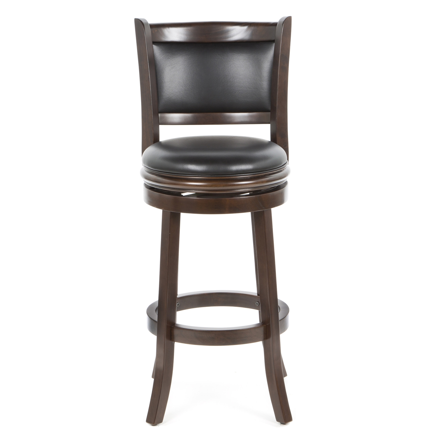 Accent your bar space with this classy and stylish Cappuccino 29-inch Swivel Barstool with Faux Leather Cushion Seat. Its attractive and durable design is a perfect fit for all decor settings. It occupies less space and proves highly useful when you have guests at home.This stool has a solid hardwood construction that ensures it lasts for many years to come. The lustrous finish lends it a timeless look and adds to the appeal. It is fitted with a rich faux leather seat with high density foam to offer comfortable seating and enhance its appearance. It has flawlessly crafted French style legs with tempered bottoms. The steel ball bearings keeps it steady. The swivel ensures unrestricted movement. While the full ring footrest lends more strength and stability. The back support makes the seating experience more relaxed.The bar stool has a weight capacity of 250lbs. Its seat height is 29''. The overall dimensions of the bar stool are 43.5'' in height, 17'' in width and 18'' in depth. It is available in different shades to best suit your decor. This stool is best paired with an elegant bar table to complete the sophisticated look of your decor.