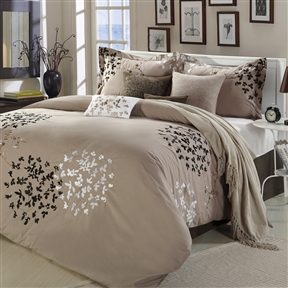 This Queen size 8-Piece Comforter Set in Light Brown Black Tan White comes with everything you need to do a complete makeover for your master or guest suite. Detail Embroidery highlight the true essence of look you are trying to achieve in elegant home decor.  Machine wash cold on gentle cycle; Do not bleach or dry clean; Tumble dry low; Light iron as needed; Set includes 1 comforter, 1 bedskirt, 2 shams, 2 filled square cushions, 1 cushion, 1 breakfast pillow.