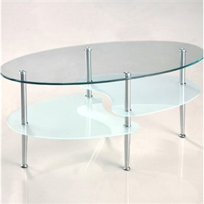 This stylish coffee table features distinctive curved lines and frosted lower shelves, providing the perfect accent to any contemporary room. The Wave Oval Coffee Table features three levels of beveled, tempered safety glass, and sturdy chrome metal legs, to provide rugged construction while maintaining a sleek look. The lower shelves feature a beautiful frosted glass for an added touch of style. Features: Shelves; Product Category: Coffee & Cocktail Tables; Shape: Oval; Style: Modern/Contemporary; Top shelf is 8mm thick; Lower shelves are 6mm thick.