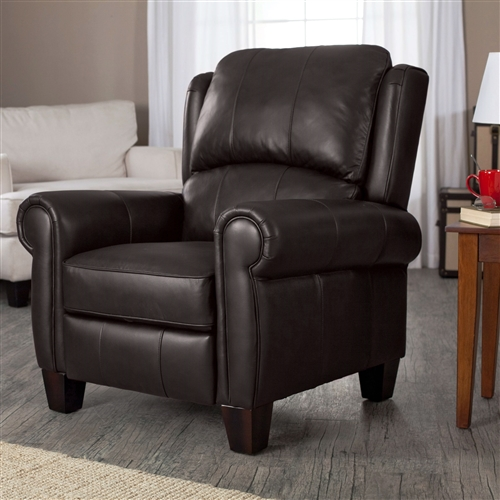 Fill your space with this High Quality Top Grain Leather Upholstered Wingback Recliner Club Chair in Chocolate Brown and lie back in pure, blissful comfort. Every home needs one reliable recliner for the family to fight over. This medium softness cushion offers seating everyone can enjoy. The classic wingback design is upholstered with high-quality top-grain leather that will last for years of lounging. With a frame constructed of pine and plywood, this is a recliner you can count on to stand the test of time. Decorative stitching accentuates the curved arms and wing back design. The chocolate brown color will easily blend to any decorating motif this guy is added to, be it a traditional one or even a more modern aesthetic.
