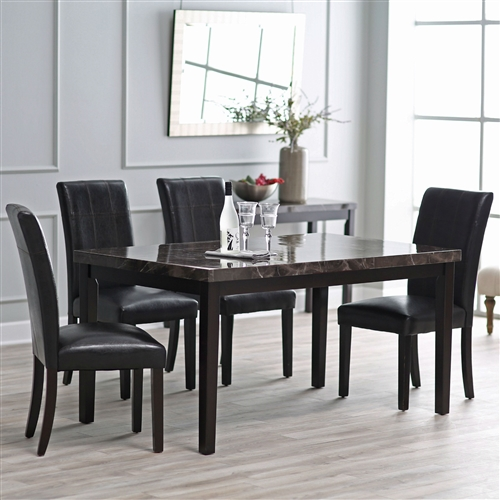 Have the elegant look of faux marble and clean lines with this Modern 60 x 36 inch Espresso Dining Table with Faux Marble Veneer Top. With an MDF wood frame and legs, this rectangular dining table is suitable for your kitchen or dining area whether your style is modern or more classic. This piece features a faux marble veneer countertop and can seat anywhere from four to six guests at dinner parties or casual meals and drinks with friends.