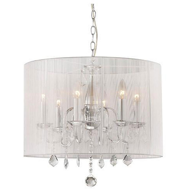 Lighten up any room in your home with this Chrome and Cream 6-light Crystal Chandelier. The chandelier has a chrome finish with elegant cream shade for perfect light distribution. This fixture does need to be hard wired. Professional installation is recommended.