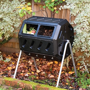 """37-Gallon Tumbling Compost Bin Tumbler Composter - 5 Cu. Ft., CMYT8364:  Yimby is an acronym for """"Yes in my backyard."""" Yimby home and garden products help promote environmental responsibility, sustainability, well being and overall enjoyment of home and garden. This 37-Gallon Tumbling Compost Bin Tumbler Composter - 5 Cu. Ft. features two chambers, fill one side while the other side cures, making it easy to efficiently convert your kitchen and yard waste into rich soil enhancing compost. Just load it up, close the sliding door and use the convenient built- in hand holds to give it a turn every couple days and see how it produces finished compost in weeks. The tumbling composter is made with recycled, up inhibited, black plastic which absorbs heat and is designed to be rodent-proof. Help divert waste from landfill or costly processing and turn your own organic waste into compost in your own backyard. Adjustable air vents; Made in Canada; Made from durable, UV. resistant plastic with recycled content and includes a strong steel frame, which will last for many years. Overall Height - Top to Bottom: 36 Inches; Overall Width - Side to Side: 28 Inches; Overall Depth - Front to Back: 26 Inches.  Wall Thickness: 0.1 Inches; Aeration Hole Diameter: 3 Inches."""