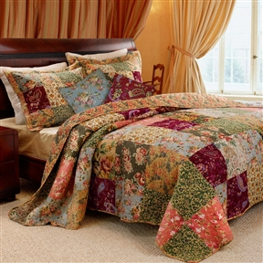 This King 100% Cotton Floral Paisley Quilt Set w/ 2 Shams & 2 Pillows would be a great addition to your home. It has a charming floral print and is made with 100% cotton. Oversized for better mattress coverage; Intensively quilted for style and durability; Reversible vintage rose floral print gives a two in one look; Combined with paisleys create this intricate patchwork quilt; Twin set includes 1 quilt, 1 sham and 1 decorative pillow; Full/Queen and King set includes 1 quilt,2 shams and 2 decorative pillows. NOMITE Label: Yes; Cleaning Method: Machine washable; Drying Method: Tumble dry; Iron Safe: No.