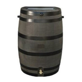 50-Gallon Wood Grain Rain Barrel with Brass Spigot, RTSHA10636 : With this 50-Gallon Wood Grain Rain Barrel with Brass Spigot you can embrace nature's solution to our emerging water shortage-collect rainwater! Our authentic oak barrel texture is molded into each barrel and will not fade, rot or risk insect infestation. The RTS Accents rain barrel has many unique features including a flat back to sit flush against a wall, linkable to other rain barrels for increased capacity, screen to keep out debris and insects, and a shut off valve for hose hook up with dual overflow. 50-Gallon capacity, wood grain.