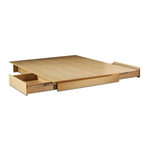 This Full/Queen Maple Platform Bed with 2 Storage Drawers with its Natural Maple finish has a timeless look and blends easily in any decor. It provides storage with two large drawers, one on each side, without handles. Drawers have full extension metal glides for easy access. This bed fits full or queen size mattress and box spring is not required. When used with a full mattress, a fringe of the Natural Maple finished top surface will be visible on each side and at the foot of the mattress. This bed is made of recycled CARB compliant particle panels. It has to be assembled by two adults.