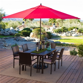 Outdoor Patio 11-Ft Market Umbrella with Red Shade Canopy, KLMU516948145 :  You will have it made in the shade when you stay cool beneath this Outdoor Patio 11-Ft Market Umbrella with Red Shade Canopy. This big umbrella is just the thing to make relaxing or entertaining outside a whole lot more comfortable. Ideal for use with a patio table, this umbrella has a hardwood mahogany-stained pole with brass accents and features a double pulley lift with 8 ribs to support its premium polyester shade. This umbrella is available in six color options to coordinate nicely with your outdoor furniture. Mahogany-stained pole features brass accents; Hardwood pole measures 1.375 in. Features a double-pulley lift; non-tilting; Ideal for use with 54- to 72-inch patio tables; Use a 75 lb. stand with use through table; Not recommended for freestanding use; Not recommended for commercial use; Commercial Grade Yes; Fabric Type Polyester; International Shipping Canada; Tilt None Umbrella; Shape Round; Warranty Manufacturer Warranty Included.