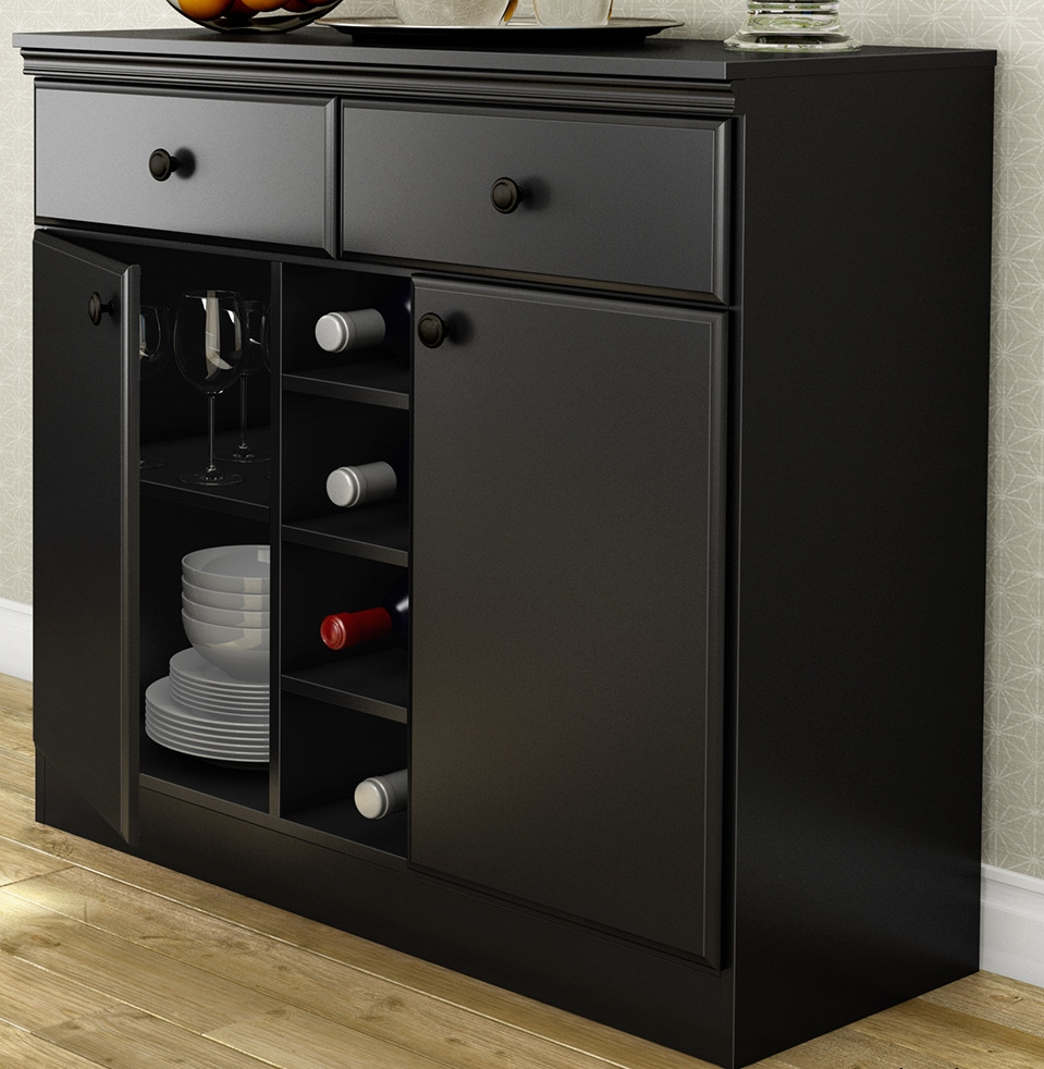 This black sideboard console table buffet server with adjustable shelves is designed to maximize storage in
