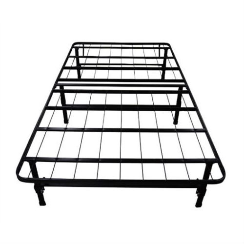 """This King size Black Metal Platform Bed Frame provides complete support system for your mattress replacing your current metal frame and box spring with a much more user friendly options. Excellent strength and durability, Easy to set up, plus 14"""" of under bed storage! This affordable mattress support system is 100% steel constructed and will conveniently and comfortably support your mattress while providing more than double the storage space found under traditional box springs and frames."""