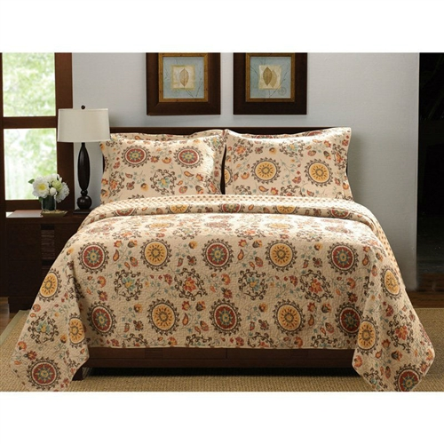 The crisp autumnal colors of the King Retro Moon Shaped Floral Medallion Reversible 3 Piece Quilt Set bring its nature-inspired print to life, including floral crests and moon-shaped medallions in a lovely retro style. This set is made from 100% machine washable cotton and is available in your choice of size, with the quilt designed larger than ordinary for more comfortable mattress coverage. Face, back, and fill made from machine washable cotton; Retro print with moon-shaped medallions, floral crests; Foulard print on reverse side.