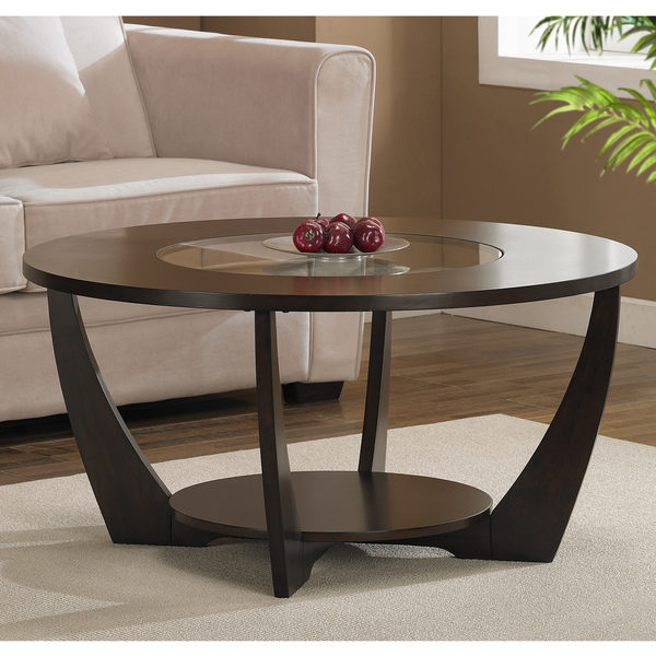 A Stylish Tempered Glass Insert And Rich Espresso Finish Highlight This  Modern Espresso Coffee Table With