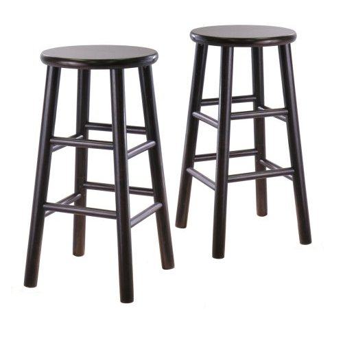This Set of 2 Backless 24-inch Bar Stools in Espresso Finish has Rounded legs are sturdy; able to hold up to 200lbs. The beveled seat is contoured for comfort. The stools ship fully assembled.