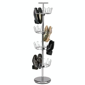 "Chrome 4-Tier Revolving Shoe Rack Tree - Holds 24 Pairs, HEFTR2435 :  This Chrome 4-Tier Revolving Shoe Rack Tree - Holds 24 Pairs is a great solution for shoe storage and organization. It is made of heavy duty chrome plated metal. It will hold up to 24 pair of shoes. One of the important features of this shoe tree is the adjustability of the rack levels to accommodate smaller and larger shoes. It stand 54"" high and has a width of 12"". It has a built-in handle at the top to allow easy movement of the rack. The bottom is weighted with extra weight to provide stability. Assembly takes about 5 - 10 minutes. Easy to follow assembly instructions are included."