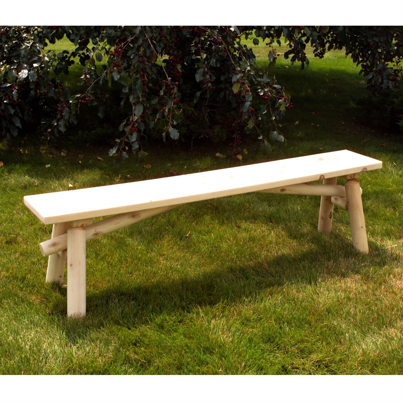 Unfinished Pine Wood Outdoor Picnic Garden Bench - Made in USA, UWPB12448 :  This Unfinished Pine Wood Outdoor Picnic Garden Bench - Made in USA is an ideal seat for any bonfire or family gathering. Moon Valley warrants its products to be free from manufacturing defects for a period of one year after its purchase. Finish is not included under the limited warranty. Heavy-duty hardware utilized; Made in the USA; Sturdy doweled construction; Frame Material Details: Wood; Assembly Required: Yes; Tools Needed for Assembly: Drill or screwdriver and rubber mallet or hammer; Hardware Material: Stainless steel; Rust Resistant: Yes; Seating Capacity: 3; Weight Capacity: 425 Pounds; Commercial Use: Yes; Product Care: Wipe clean with a lint free rag.