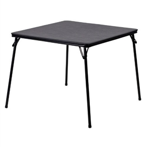 This Black Multi-Purpose Folding Table - Great for Playing Card Games or Poker Table is a easy to clean and maintain folding table can easily provide extra seating in the home. The foam padded top is perfect for preventing cards from sliding off of the table. This table can be used for gatherings, display, arts and crafts and for eating. When no longer in use, fold the legs in and store away. Easy To Clean Vinyl Top; Ca117 Sponge Foam Padding.