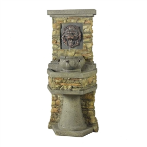 Indoor / Outdoor Water Fountain with Bronze Hued Lion Head, LHIF30501 :  This Indoor / Outdoor Water Fountain with Bronze Hued Lion Head is a classic fountain design that will add traditional style to your outdoor spaces. It features a lions head and two tiered design. Water cascades gently from one level to the next, creating a pleasant look and sound. The flow of the water starts at the mouth of the bronze-hued lion head. From there, it pours into an ancient pot design. From three spigots water continues to fall into the larger lower basin over a fluted pedestal base. The sound of water cascading down the tiers of the fountain will present a serene background sound for your garden, patio or deck. The beautiful design is crafted of weather-resistant polyresin and fiberglass. Its expertly sculpted to look and feel like a natural stone wall. Its topped by simulated concrete crown molding. Placed against a wall or fence, the silhouette will look like an ancient fountain wall has been preserved in your yard. Electric power; Pump included; Number of Pumps Included: 1; UL Listed: Yes; Assembly Required: Yes; Submersible Pump: Yes; Recirculating Pump: Yes; Battery Included: Yes; Voltage Requirement: 110 Volts (V); Distressed: Yes; Number of Items Included: 2; Pieces Included: Includes fountain and pump; Water Capacity: 10 Gallons.