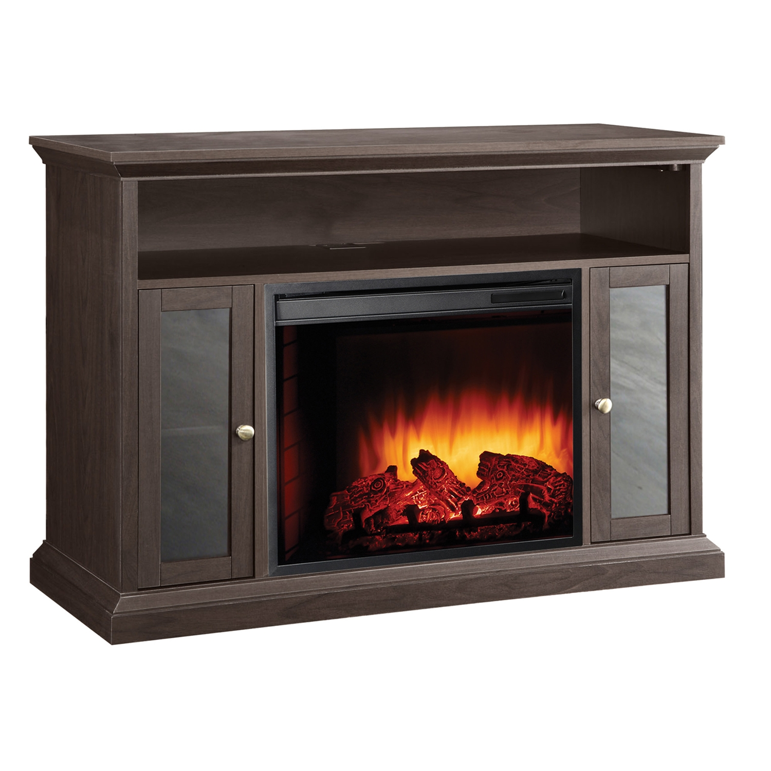 """Electric Fireplace Space Heater TV Stand 13500 Watt, PHMCF470523 :  This Electric Fireplace Space Heater TV Stand 13500 Watt is the ideal solution for warmth, ambiance and an updated decor in lofts, apartments, living rooms, basements and other areas of your home or office. Constructed from solid wood with a beautiful espresso finish, this easy to assemble unit has a fireplace and media center dual-functionality to provide storage shelves, a mantle to hold up to a 48-inch flat panel TV, heat and a glowing log atmosphere without the mess and hassle that come from traditional fireplaces. The 23"""" firebox uses energy efficient LEDs to provide the fire effect and features (3) realistic flame settings, (10) heat temperature settings and a randomly glowing ember bed that can be adjusted by the included multi-functional remote control. The 4,600-BTU, 1,350-watt fan-forced air heater will warm a room up to 400-square feet in size without the need for venting or construction. A temperature display with LCD digital controls and (10) different timer settings are also located on the panel. The media cabinet features over 46-inches of mantle space, 7"""" high media shelf and (2) glass door side cabinets with adjustable shelving. The cabinet and fireplace can be operated with or without the heater, uses green electric power from any standard outlet and can reduce your monthly energy costs. The cabinet is designed for """"screwdriver only"""" easy assembly and has a cord management channel. This stunning focal point will fit any lifestyle and provide the family and friends with the flames, ambiance and warmth your room's been missing. Manufacturer provides 1 year limited warranty. Country of Manufacture: China."""