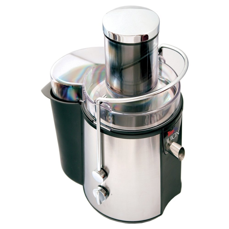 A nice addition to any healthy kitchen, this 700-Watt Stainless Steel Chef Power Juice Fountain Juicer produces fresh juice with a simple turn of a knob. Just place a glass or pitcher under the spout, insert fruit or vegetables into the 3-inch-wide feeding tube (cutting over-sized items into smaller pieces if necessary), and gently and slowly press down using the included pusher. The 700-watt unit delivers up to 22,000 RPMs and should be set to standard speed for most fruits and vegetables, or high speed for hard-skinned or tough foods. The machine accommodates anything from pineapples, melons, apples, oranges, and grapes to tomatoes, celery stalks, cucumbers, carrots, spinach, and more. Fresh produce contains the most juice, and only thick peels need to be removed--thin peels or skins can be left on. Thoughtfully designed, the electric juicer features a surgical-steel juicing blade, a metal filter, a juice collector with both spout and no-drip cap options, a removable pulp container, automatic shut-off, and suction cups to ensure sturdy placement on a table or countertop. For enhanced safety, the juicer will only function if all parts have been properly assembled and the lid has been properly locked in place with the clamps. All detachable parts clean up easily by hand or in the dishwasher and the base wipes clean with a damp cloth. Surgical Steel Juicing Blade; Juice collector with spout and no-drip cap.