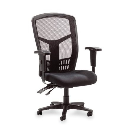 "This High Back Executive Black Mesh Ergonomic Office Chair features a mesh back chair, mesh fabric seat and ergonomically designed high back for the natural curvature of a person's back. Arms adjust in height and width. Seat height from floor adjusts from 17"" to 21"". High-back chair offers a nylon five-star base, pneumatic seat-height adjustment, 360-degree swivel, tilt and asynchronous three-lever control. High-back chair is available in black frame only and meets the CA117 fire-retardant standard."