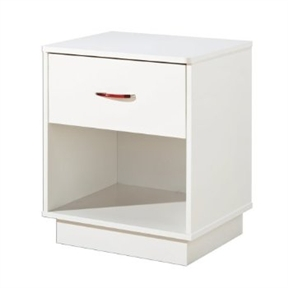 Featuring bold, clean lines and a pure-white finish, this 1-Drawer Nightstand with Open Compartment in White Finish lends a sense of modern convenience to any bedroom, den, or guest room. The unit's durable, engineered-wood construction stands up to everyday wear and tear, while its crisp, contemporary surface and platform-style base blend beautifully with any decor. The night table provides an open compartment for a folded quilt or a stack of books and one roomy drawer that works great for storing reading lights, hand lotion, and more. Equipped with a clear plastic handle that can be customized with interchangeable red- and blue-colored inserts, the drawer glides smoothly and comes with a child-friendly catch for safety. Best of all, the unit's top rim curves gently into profiled corners that protect against injury, making it a smart and safe choice for children's bedrooms, playrooms, or guest rooms at Grandma's house.