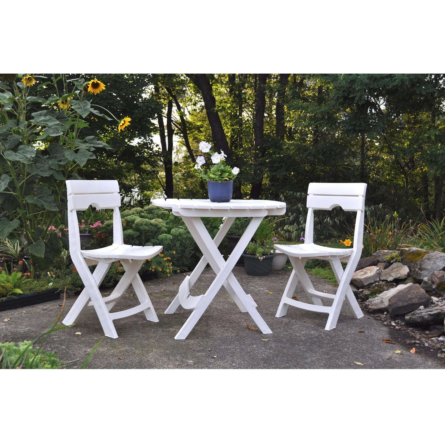 3-Piece Folding Outdoor Patio Furniture Bistro Set in White, W3CBS899 :  This 3-Piece Folding Outdoor Patio Furniture Bistro Set in White is the ideal on-the-go bistro set. Folding quickly and compactly, the set travels along for any outdoor recreation, including camping, picnics, tailgating, and more. Use in the backyard for extra seating at parties, or on the balcony or patio. Comfortable and sturdy, this resin set is a long-lasting value. Proudly made in the USA. Built-in umbrella hole holds most standard umbrellas; High-quality resin material is lightweight enough for everyone to handle.