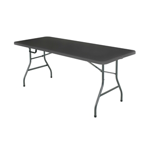 These high-quality tables cater to any occasion. Dress them up for the holidays or take them outside for a barbecue. This Black 6-Ft Centerfold Folding Table with Weather Resistant Top features a waterproof top that resist spills and weather. This versatile piece saves space and time with table legs that fold in and a center folding feature that makes transport and storage virtually effortless. Its rectangular length provides additional seating at both ends of table. Table has a heavy duty strong steel frame, steel legs and a low maintenance, sturdy easy to clean top.