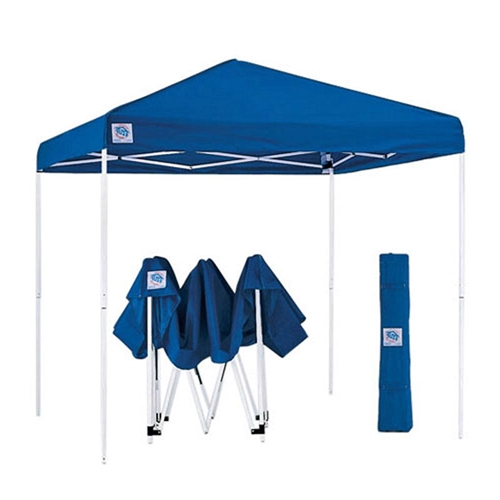 Blue 10-Ft x 10-Ft Easy Up Canopy with Roller Carry Bag, BZUC65818451 :  Enjoy your time outdoors while relaxing in constant shade beneath this Blue 10-Ft x 10-Ft Easy Up Canopy with Roller Carry Bag. The strong polyester fabric of the square canopy is held in place by a durable steel frame that helps shape the fabric into a peaked cathedral ceiling. There are no tools required for assembly, and when it's not in use, the canopy breaks down quickly and easily. A series of pull pin sliders hold the canopy together, and with their removal the canopy and frame can be compacted small enough to fit into a roller carry bag for convenient transportation. Highly durable 150-denier polyester fabric; 10L x 10W feet for excellent coverage; Clear span cathedral ceiling; Canopy Color White, Blue, Red, Tan, Black; Component Party Tents & Canopies Awnings & Heating; Number of Legs 4; Pole Material Steel; Style Pop Up.