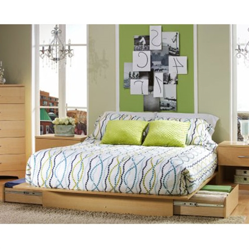 This full/queen modern platform bed with its Natural Maple finish has a timeless look and blends easily in any decor. It provides storage with two large drawers, one on each side, without handles. Drawers have full extension metal glides for easy access. This bed fits full or queen size mattress and box spring is not required. When used with a full mattress, a fringe of the Natural Maple finished top surface will be visible on each side and at the foot of the mattress. This bed is made of recycled CARB compliant particle pannels. It has to be assembled by two adults. Measures 62 inches wide by 81 inches deep by 9 inches high. It is delivered in one box measuring 88 inches by 22 inches by 5,5 inches and weights 138 pounds. Tools are not included. 5 year warranty. Made in Canada. Matching nightstand, dressers, and bedroom furniture sold separately.