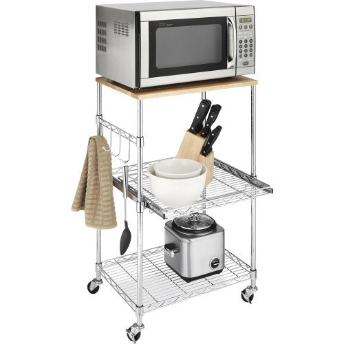 This Metal Microwave Kitchen Cart with Adjustable Shelves and Locking Wheels can be used in many areas of your home and in different ways. It's locking wheels, pull-out shelf and accessory hooks makes this piece versatile and convenient. This rolling microwave cart features a chromed steel frame for stability and durability. Both the pull out second shelf and the lower shelf are adjustable in one inch increments to meet your storage needs. Four hooks are provided to attach to the side of the cart for hanging utensils or other items. The top of this handy Microwave Cart is actually a birch wood cutting board that can be removed and used for food preparation. Easy to assemble and no tools are required.