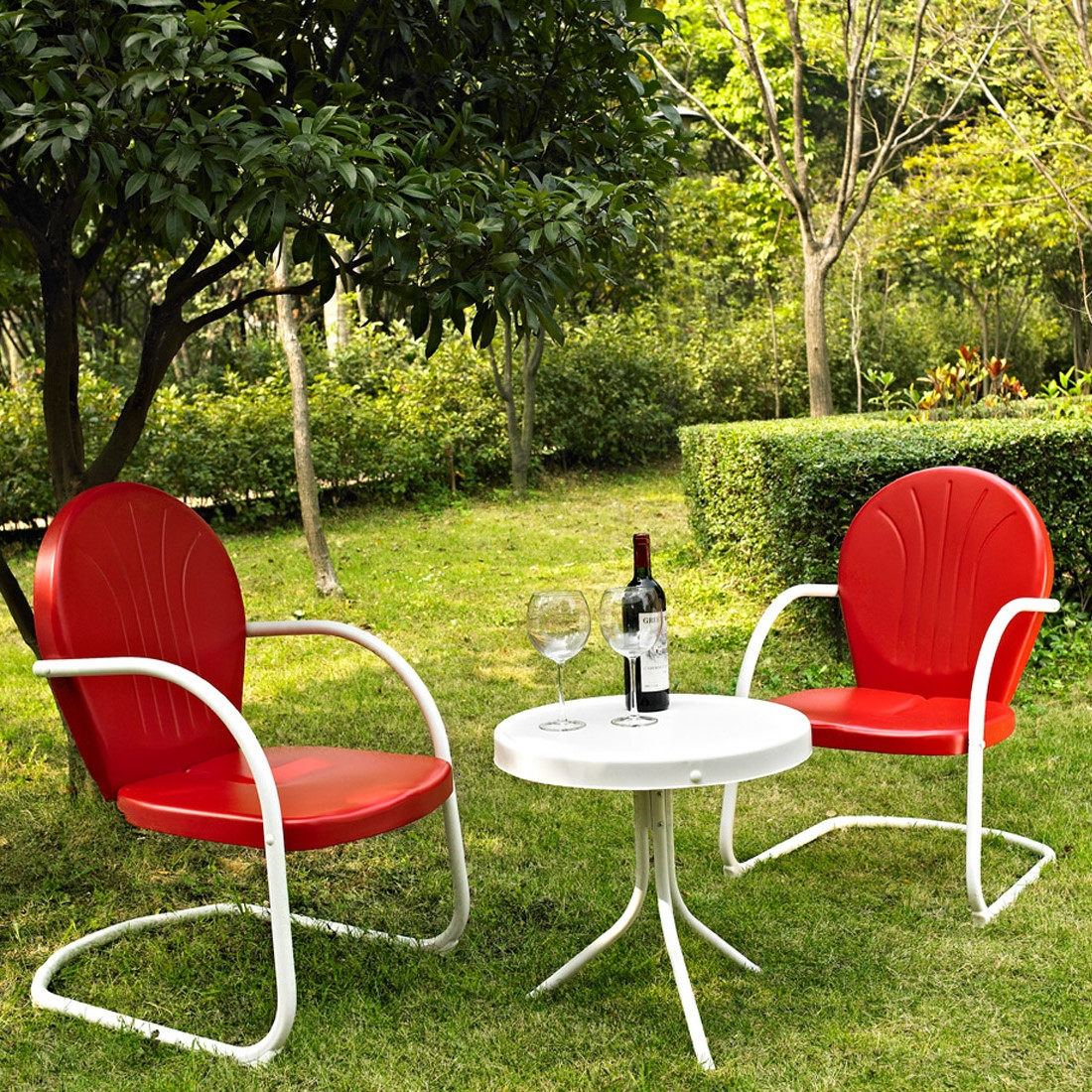 3-Piece Outdoor Patio Furniture Set in Red and White, RSG1389115 : Relax outside for hours on our nostalgically inspired 3-Piece Outdoor Patio Furniture Set in Red and White. Kick back while you reminisce in this seating set, designed to withstand the hottest of summer days and other harsh conditions. Use a soft clean cloth that will not scratch the surface when dusting. Use of furniture polish is not necessary. Should you choose to use a furniture polish, test in an inconspicuous area first. Use of solvents of any kind could damage your furniture's finish. To clean, simply use a soft cloth moistened with lukewarm water, then buff with a dry soft clean cloth. UV resistant; Set includes 1 side table and 2 chairs; Sturdy steel construction; Non toxic powder coated finish; Weather Resistant Details: Weather resistant Water; Resistant Details: Water resistant and waterproof; Assembly Required: Yes; Product Warranty: 3 Month limited; Woven: Yes; Sling Included: No. Weight Capacity: 250lbs. Style: Contemporary; Pieces Included: 1 Side table, 2 Chairs; Country of Manufacture: China.