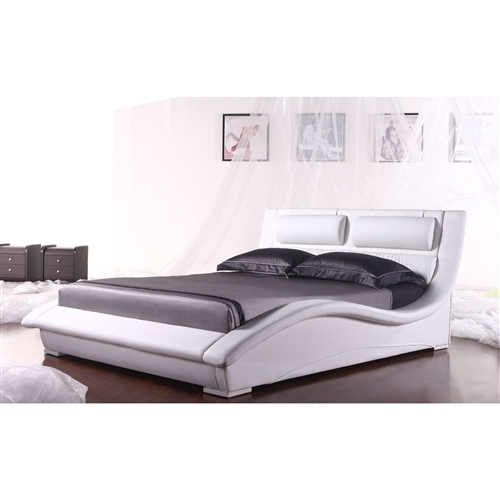 Add a new style to your bedroom with this King size Modern White Faux Leather Platform Bed with Headboard. This stylish bed features an artistic expression in the contemporary furniture design. The creative design displays stunning curves and sofa style cushion crafted into the headboard for a more relaxing feeling as your lean back to read a favorite book or to stay up and watch a late night movie. No matter what the case maybe this bed brings you comfort and style. The bed is covered in a beautiful high grade white leatherette upholstery that adds to its beautiful stylish look. Add a stunning new look to your bedroom with the platform bed. This is a platform bed frame and does not require a box spring. The mattress is supported by wooden slats.