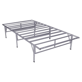 The easy solution to the limitations found with a traditional box spring. This Twin size Steel Platform Bed Frame in Silver Grey Metal Finish provides increased mattress support, portability, easy setup and under bed storage. The no-tools, no fuss Smart Base with its patented design is your answer for easy assembly and strong support. Caps on legs protect your floor