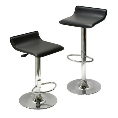 Drink coffee over the morning paper in one of these two Set of 2 Modern Air-Lift Adjustable Bar Stools with Black Seat. Great for use at a breakfast nook, a bar table, or home bar, the set's height adjusts from 25 to 30 inches with a tug to the side handle of each stool. The minimal seatback and lack of armrests endow the stools with a discrete profile for storage under countertops, while giving them an uncomplicated, sophisticated look that flatters modern décor. Supporting up to 200 pounds, each stool's sleek chrome frame provides a tubular foot rest for comfort. Faux leather fabric covers the chair's padded seat, which swivels for user convenience. To clean the stools, wipe with a soft, damp rag. The stools require simple home assembly. Once assembled, each stool measures 15 inches wide by 15 inches deep by 25 inches high. The stools weigh 31 pounds upon shipping.