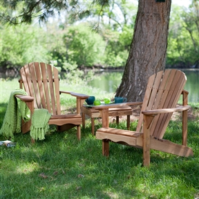 3-Piece Patio Set - 2 Oak Adirondack Chairs and Matching Side Table, BLHAC6518148 :  For rustic furniture lovers, this 3-Piece Patio Set - 2 Oak Adirondack Chairs and Matching Side Table is a dream come true. Made of strong and sturdy oak, these beautiful chairs have been ergonomically designed to curve with your body so that you won't feel the need to move even once while you rest. It's been rubbed down with linseed oil to give it a rich, natural-looking sheen. The free table made of the same materials is icing on the cake.  Fabulous value - two chairs AND a free table! Comfortable contoured seat and wide armrests; Timeless Adirondack design with fan back and slats; Durable oak wood will last season after season; Rust-resistant, stainless steel hardware; Chairs arrive partially assembled with only basic assembly required on table; Surface Natural & Unfinished Table.