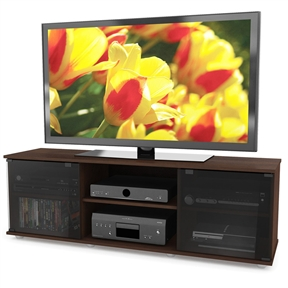 This Contemporary Brown TV Stand with Glass Doors - Fits TV's up to 64-inch is the gorgeous television and component stand. Practical for either a mounted or sitting TV, this stand is a beautiful combination of open and concealed storage space complete with easy touch tempered glass doors. Available in our warm and appealing signature shade of Urban Maple the FB-2607 effortlessly houses all of your A/V components and is built to accommodate most TVs up to 64-inch. Bring home this contemporary furniture by Sonax, proudly built in North America.