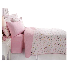 This Twin Cotton Blend Reversible Quilt Set w/ Pink White Stripe & Butterflies would be a great addition to your home. It has a butterfly pattern and a 200 thread count. Machine washable, and very durable; Product Type: Quilt/Coverlet set; Pattern: Wildlife; Material: Cotton blend; Lint Free: Yes; Non-Pilling: Yes; Wrinkle Resistant: Yes; Organic: No; Non-Toxic: Yes.