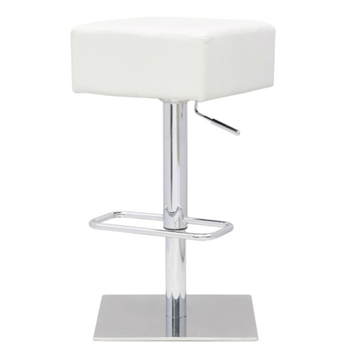 This Modern Backless Swivel Adjustable Height Barstool with White Faux Leather Seat is a swivel chair with a polished steel frame base. The stool is height adjustable.