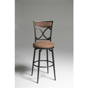 Enjoy a sophisticated dining experience with this Blackened Bronze Metal 30-inch Bar Stool with Brown Microfiber Swivel Seat. This piece features angular corners that contrast stunningly with the sloping X shape on the seat back and the round seat. An eye-catching blackened bronze metal finish and plush Cocoa microfiber upholstery make the Montgomery a great neutral that will enhance any kitchen's décor. Seat Style: Round; Seat Color: Cocoa; Distressed: No; Frame Material: Metal; Seat Material: Fabric; Seat Back Type: Cross back; Leg/Base Type: 4 legs; Footrest Included: Yes; Product Care: Wipe with a clean, damp cloth; Country of Manufacture: China.