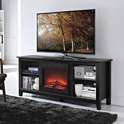 Create a warm, entertaining space in any room of your home with this 2-in-1 Black Wood TV Stand with Electric Fireplace Space Heater. Crafted from high-grade MDF with a durable laminate finish to accommodate most flat panel TVs up to 60 inches. Features adjustable shelving to fit your components and a cable management system. Installation requires no technician, simply plug into a standard household outlet and no venting required. Features: Rich, textured finish High-grade MDF and durable laminate Supports up to 250 lbs. Includes electric fireplace insert No electrician required, simple plug-in unit Accommodates most TVs up to 60 inches Adjustable shelving Ample storage space Ships ready-to-assemble with step-by-step instructions Materials: High-Grade MDF Dimensions: 16''L x 58''W x 25''H; Weight: 95lbs.