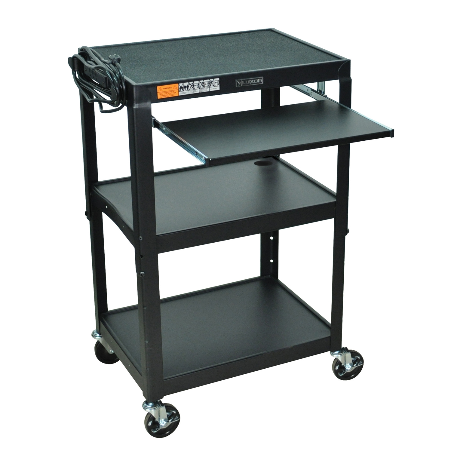 "This Mobile Stand Up Computer Desk Workstation Cart in Black Steel is height adjustable in 2"" increments. Includes hand holes for easy mobility. Application Options: Home Office, Office; Product Category: AV Carts; Style Options: AV Cart, Projector Cart; Type Options: Computer Desk, Workstations."