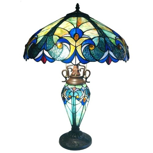 Vintage-style lighting that takes its vibe from the mid-century modern movement. This 3-Light Victorian Tiffany Style Multi-Colored Glass Table Lamp features a fantastically mod decorative frame that floats over any space elegantly with a touch of majestic appeal. Rated for interior dry application|Some assembly required; Safety certification: UL (Underwriter's Laboratory) listed; Origin Imported; Style Cottage; Finish Blue; Power Source Corded-Electric; Switch Style Rotary Socket; Certification UL Listed.