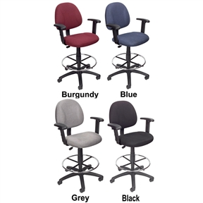 This Contoured Comfort Drafting Chair with Arms & Chrome Foot Rest has a Contoured back and seat that helps to relieve back-strain. Also, features Euro-style nylon base with heavy duty dual wheel casters. Adjustable height arms; Strong 20-inch diameter chrome foot; Choose from grey, burgundy, blue, or black color options; Assembly required; Comes in two boxes: One box with chair and second box contains foot ring.