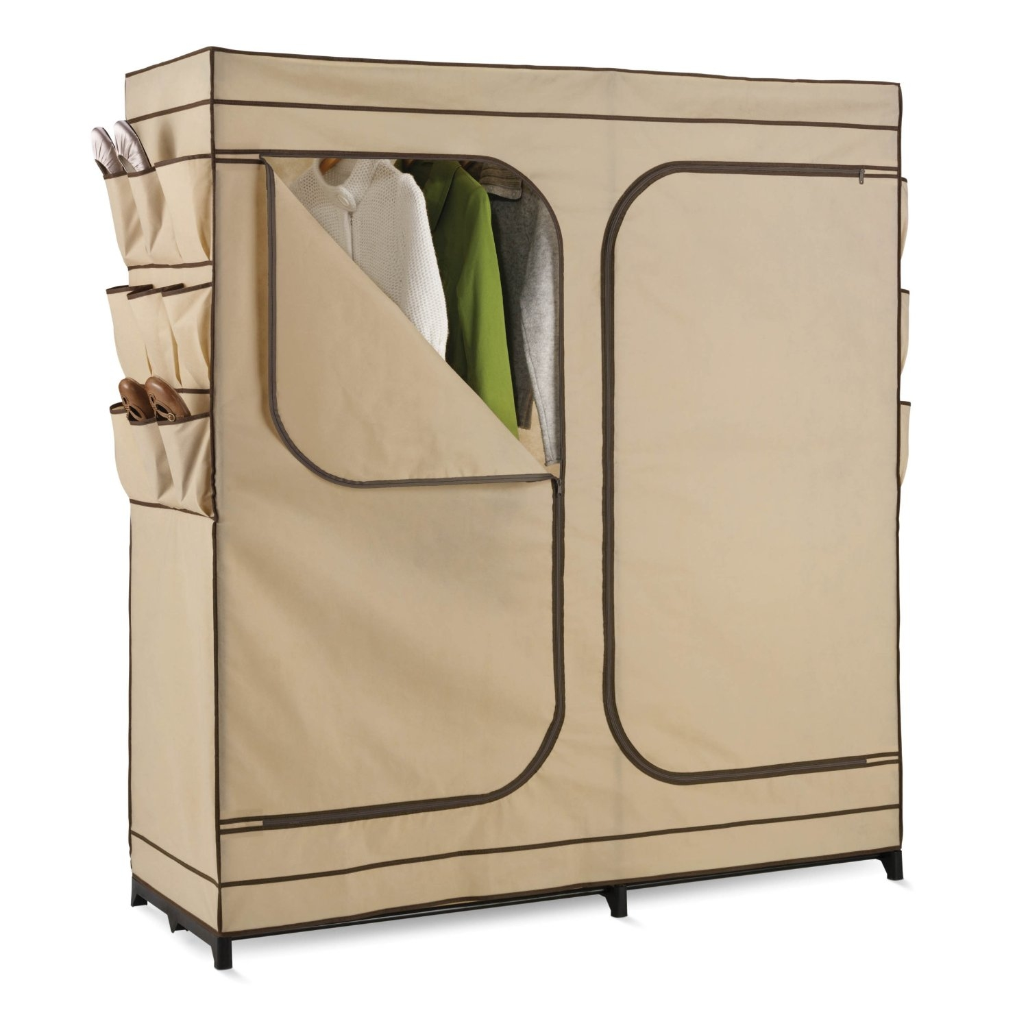 The granddaddy of all economy storage closets, this Khaki Double Door Wardrobe Portable Clothes Closet with Shoe Storage measures a generous 60-inches wide and works great for extra hanging space or seasonal storage. The high-capacity steel rod will hold all of your dresses, shirts, pants and other items giving you an excuse to shop for more! The breathable, lightweight fabric completely surrounds your garments, protecting them from dust and debris, and offers the convenience of two D-Style zipper doors for easy access. Integrated 9-pocket exterior storage is perfect for sandals and accessories.