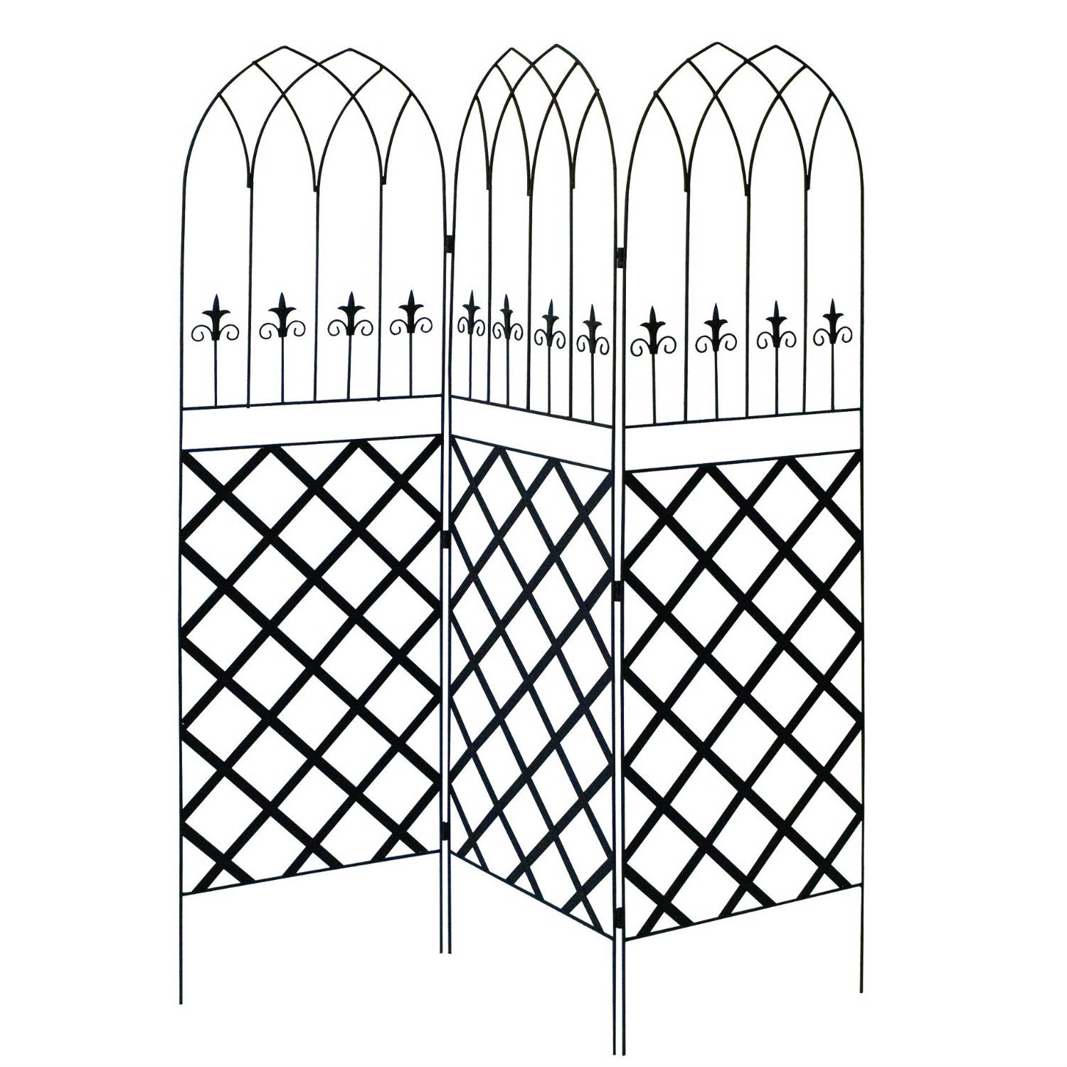 6-Ft High 3-Panel Black Metal Lattice Screen Garden Trellis, PGSTB83951 :  This 6-Ft High 3-Panel Black Metal Lattice Screen Garden Trellis has lattice work on the lower section and each top section has double gothic points with small spires that evoke a fleur de lis. This screen installs in the ground easily to create a backyard partition or to camouflage an unsightly appliance.