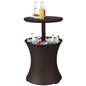 Outdoor Patio Pool Cocktail Table Cooler Bar in Brown Wicker Resin, KRCB765151 :  Want to convert your Cool Bar from cooler/coffee table into a party-perfect cocktail table? Simply lift the lid and twist the locking ring. Voila! Cold drinks, Cool Bar, instant party! And to keep the party going, this Outdoor Patio Pool Cocktail Table Cooler Bar in Brown Wicker Resin will keep drinks chilled for more than 12 hours! Easy to assemble; Looks great in any setting; Always have cold drinks at your fingertips; Easy to drain by pulling plug; Cooler, cocktail table all in one; Keeps drinks ice cold for hours; Easily pull up table top and lock in place; Ideal for BBQ; Drain plug for easy clean up.