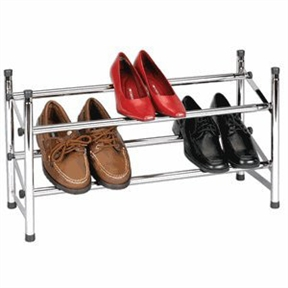 "Expandable Two-Tier Shore Rack in Chrome, HEXTTSRC1699 :  This Expandable Two-Tier Shore Rack in Chrome is made from heavy duty chromed steel. A key feature of this rack is that it is expandable from 24"" in width to 46"" in width. From a shoe storage standpoint, that means it will hold from 6 pair to 12 pair of shoes. The rack has a built in locking bar that prevents over expansion of the rack. Another feature of this shoe rack is that it is stackable when combined with a second unit of same style. This rack is a great organizational space saver for shoe organization. Easy to assemble; Made from heavy-duty chromed-steel tubing; Built-in locking bar; Measures 9 by 24 to 46 by 14-1/4 inches."