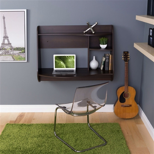 With its sleek look and innovative space-saving design, this Espresso Wall-Mount Modern Floating Desk for Laptop Computer or Tablet is a must-have for any bedroom, home office, or work space. This piece suits any space, big or small, with wood and laminate construction available in your choice of finish. It directly hangs on any wall in any room with an easy, lightweight design. Boasting major contemporary flair, this piece features two shelves for keeping office essentials and other mementos. It features cord management to avoid clutter.