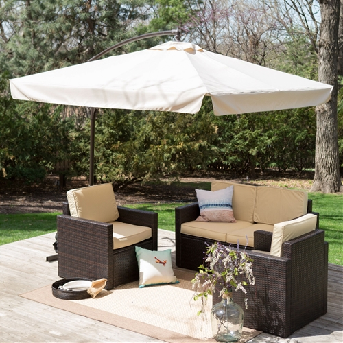 8-Ft Square Offset Patio Umbrella Gazebo with Beige Canopy Shade, CSOP5184744 :  A smart way to shade your square table, this 8-Ft Square Offset Patio Umbrella Gazebo with Beige Canopy Shade is unique, sturdy, and stylish. This square umbrella is well-constructed with a durable polyester fabric shade and sturdy pole. Eight ribs lend extra support to the canopy. This eight-foot square gazebo umbrella comes in your choice of handsome color option. 8 ribs for extra canopy support; Commercial Grade; Fabric Type Polyester; Lift Crank; Steel Rotation No; Tilt Manual; Umbrella Shape Square; Warranty 180 Days.